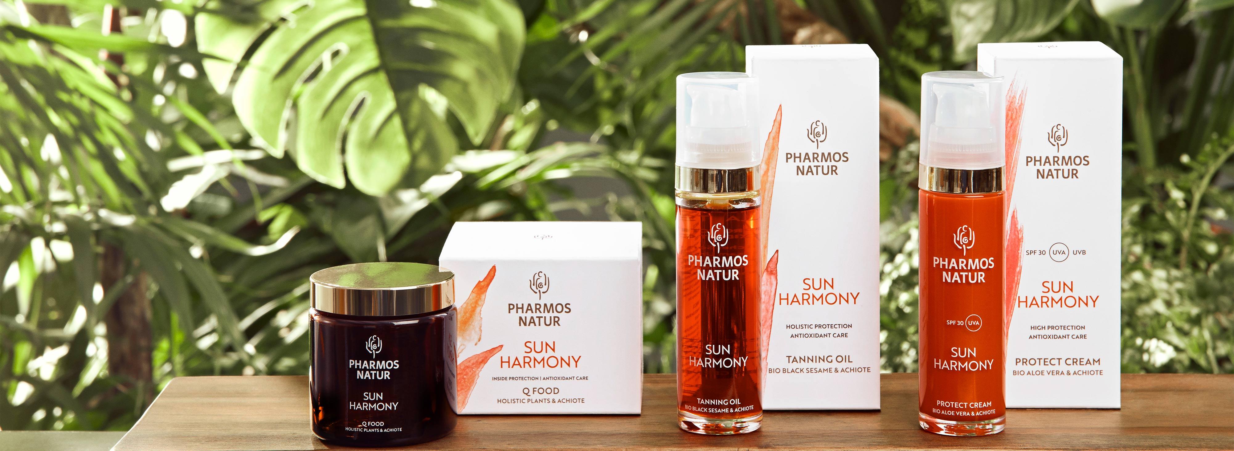 Produktlinie Sun Harmony mit Blättern im Hintergrund