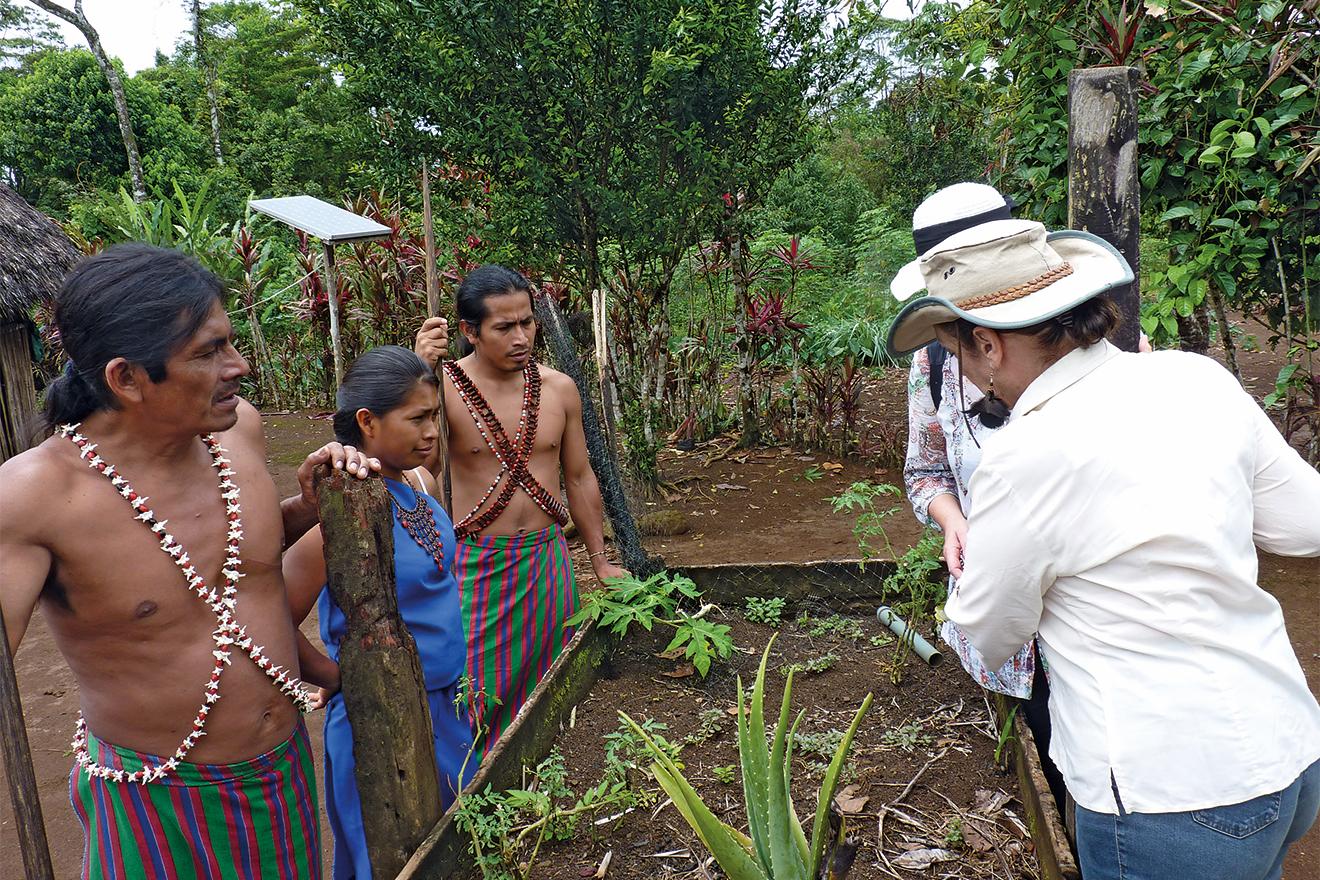 Ureinwohner und Margot Esser tauschen sich über Anbau aus.