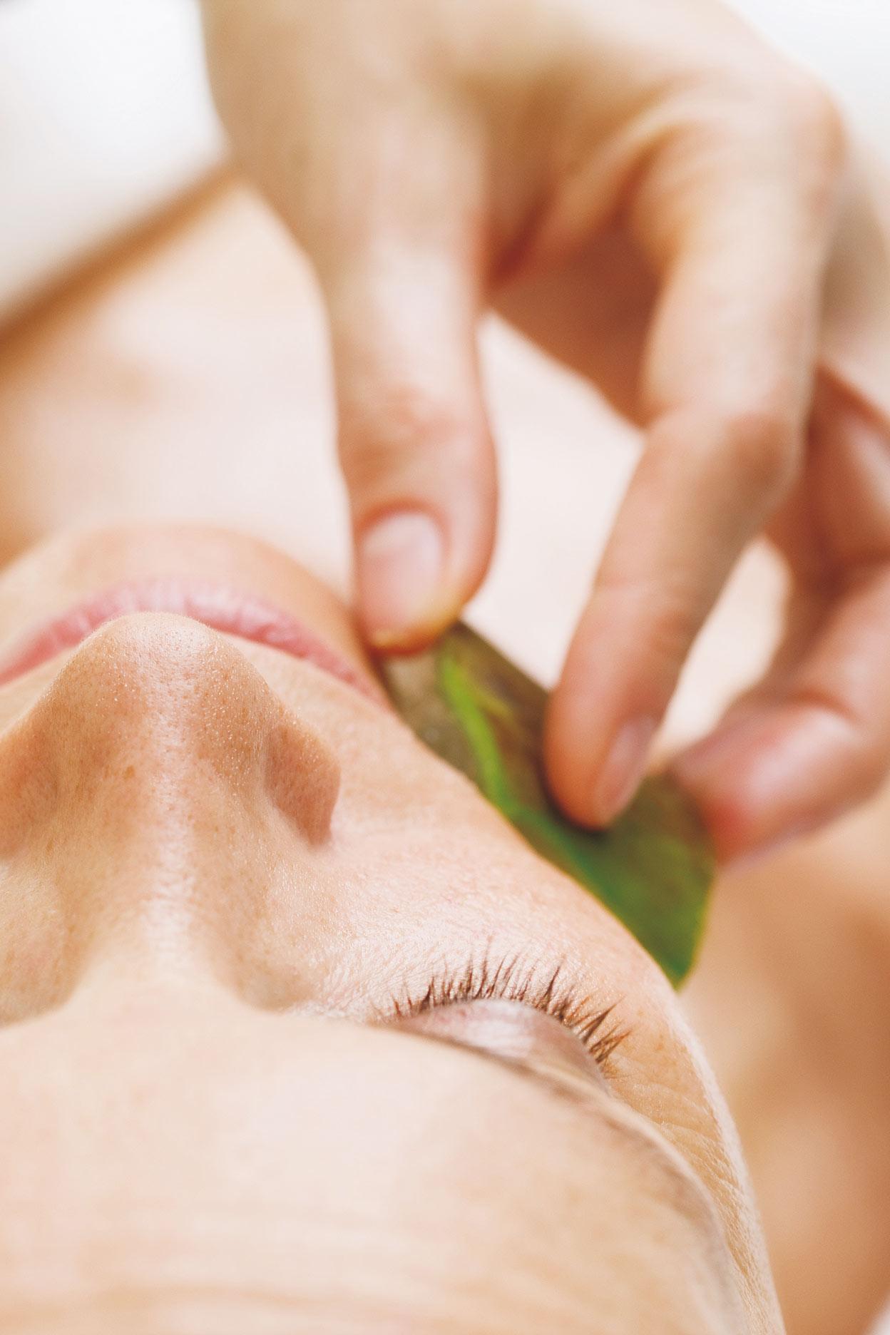 Gesichtsbehandlung mit Aloe Vera Scheibe auf der Wange