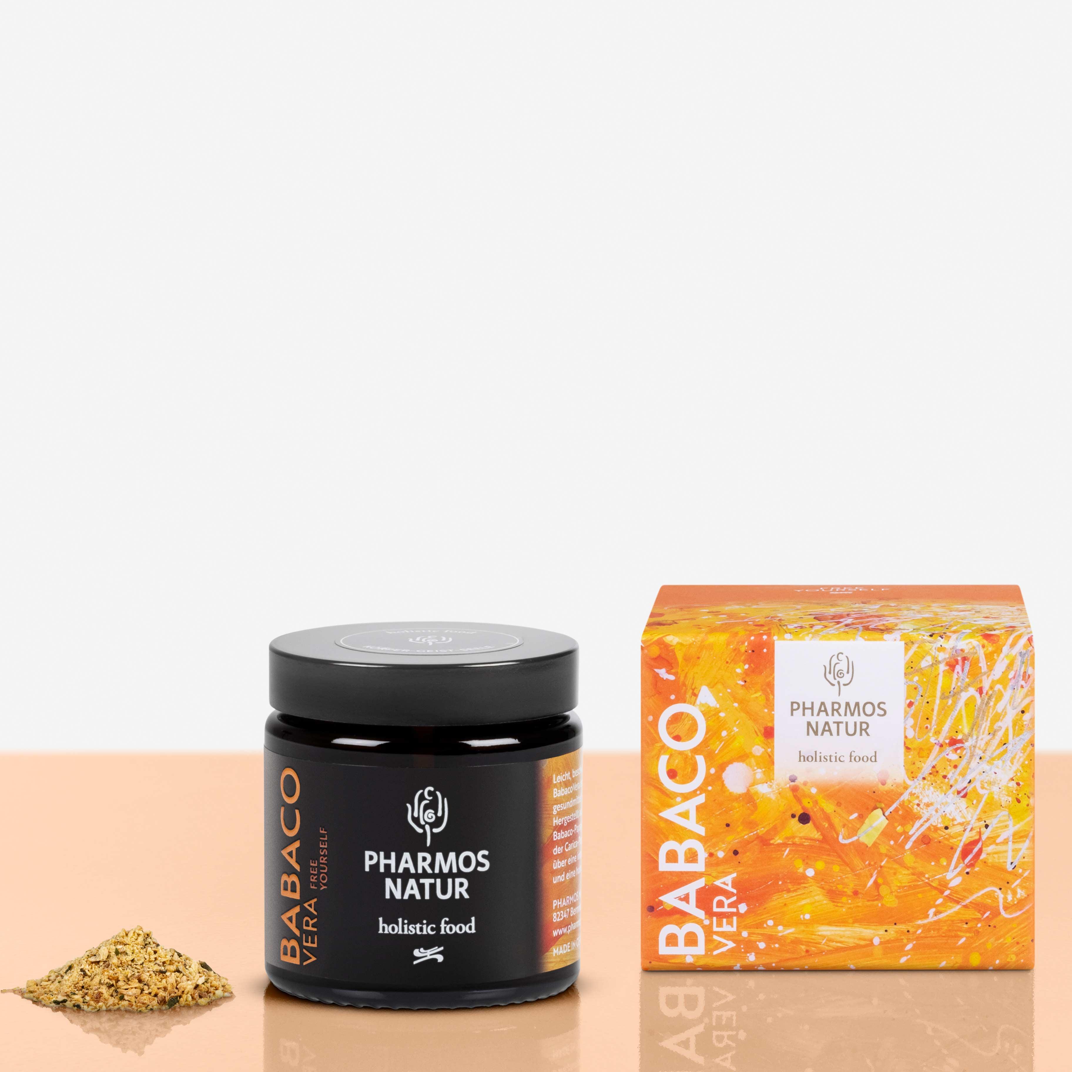 Babaco Vera dunkler Behälter Produktbild neben Pulver und Verpackung