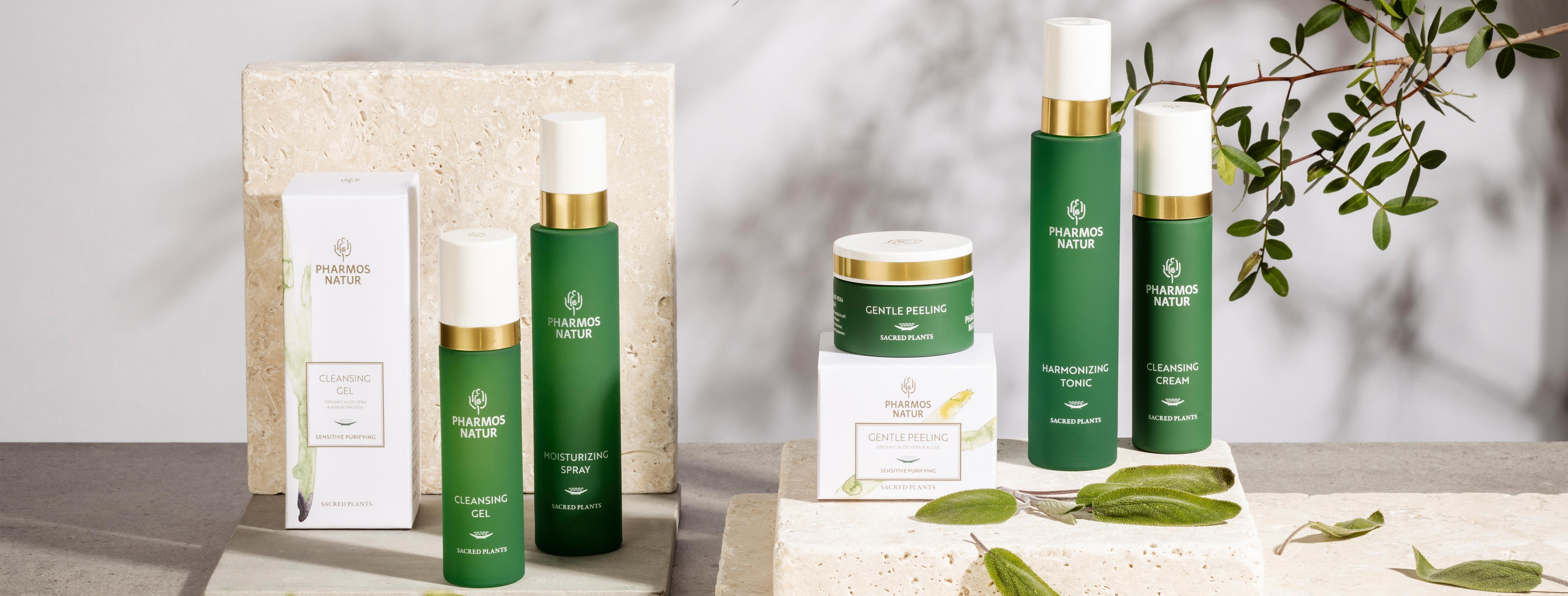 Produktlinie Sensitive Purifying mit Cleansing Gel, Moisturizing Spray, Gentle Peeling, Harmonizing Tonic und Cleansing Cream