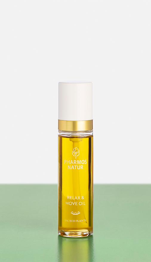 gelbes Relax and Move Oil Produktbild
