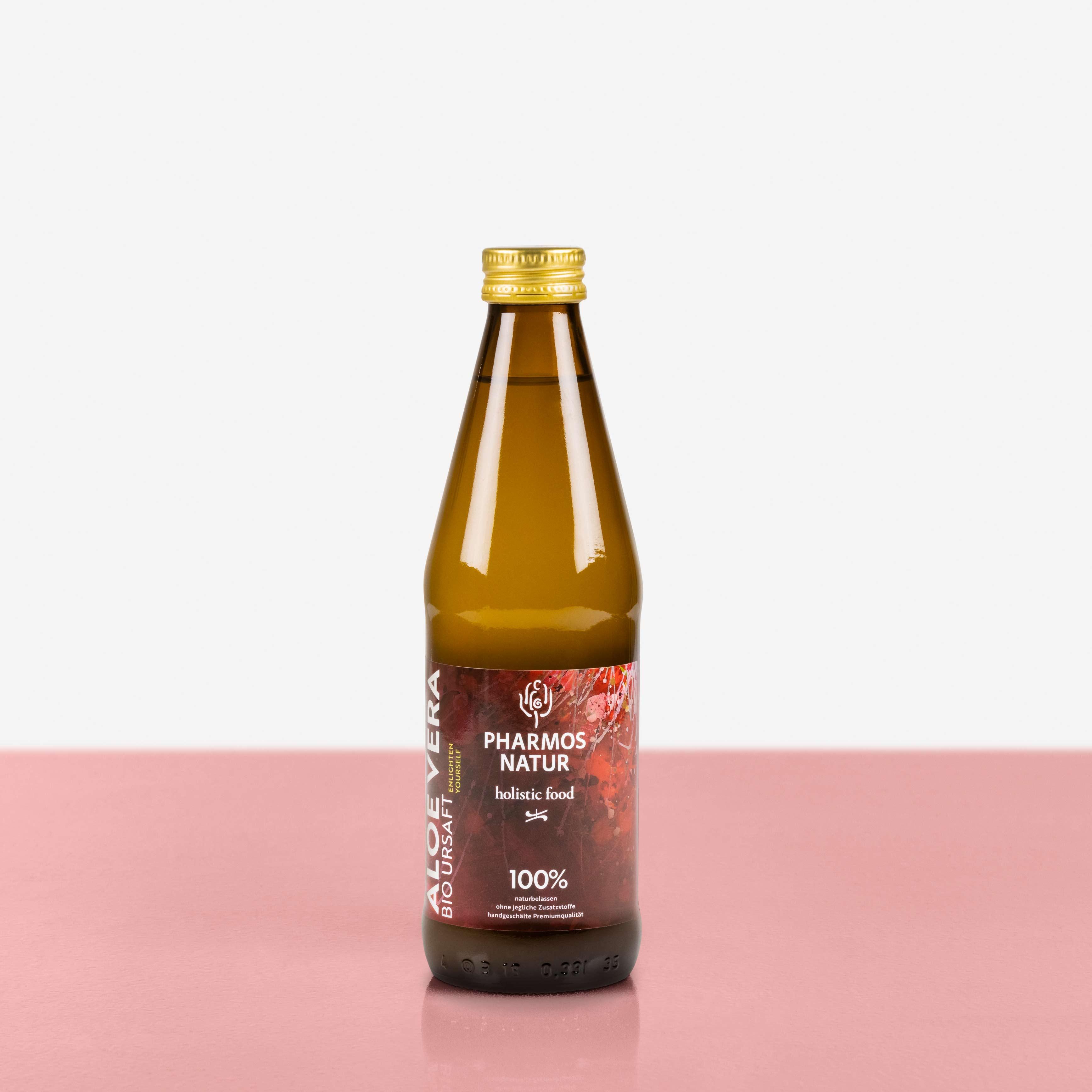 Aloe Vera Bio Ursaft dunkle Flasche mit farbigem Etikett Große Größe