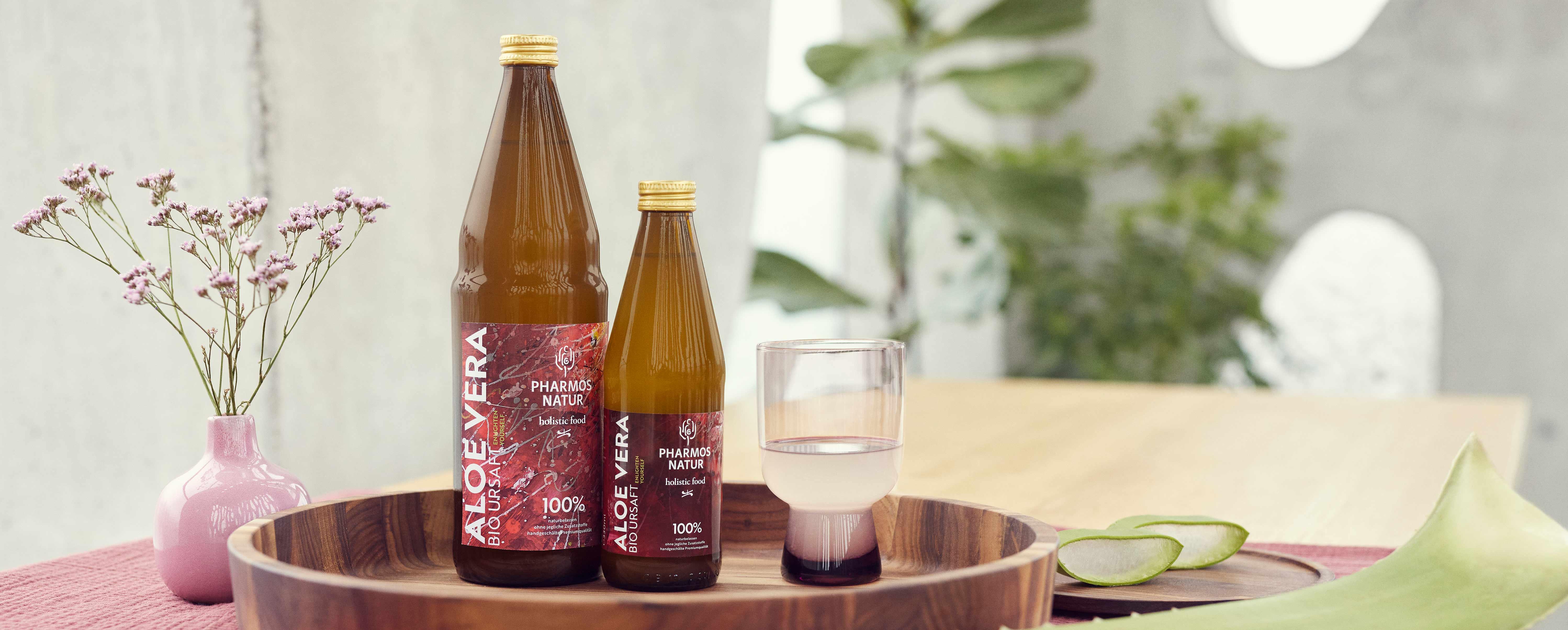 Große und kleine Flasche Aloe Vera Bio Ursaft auf einem Holztablett mit Pflanzen im Hintergrund