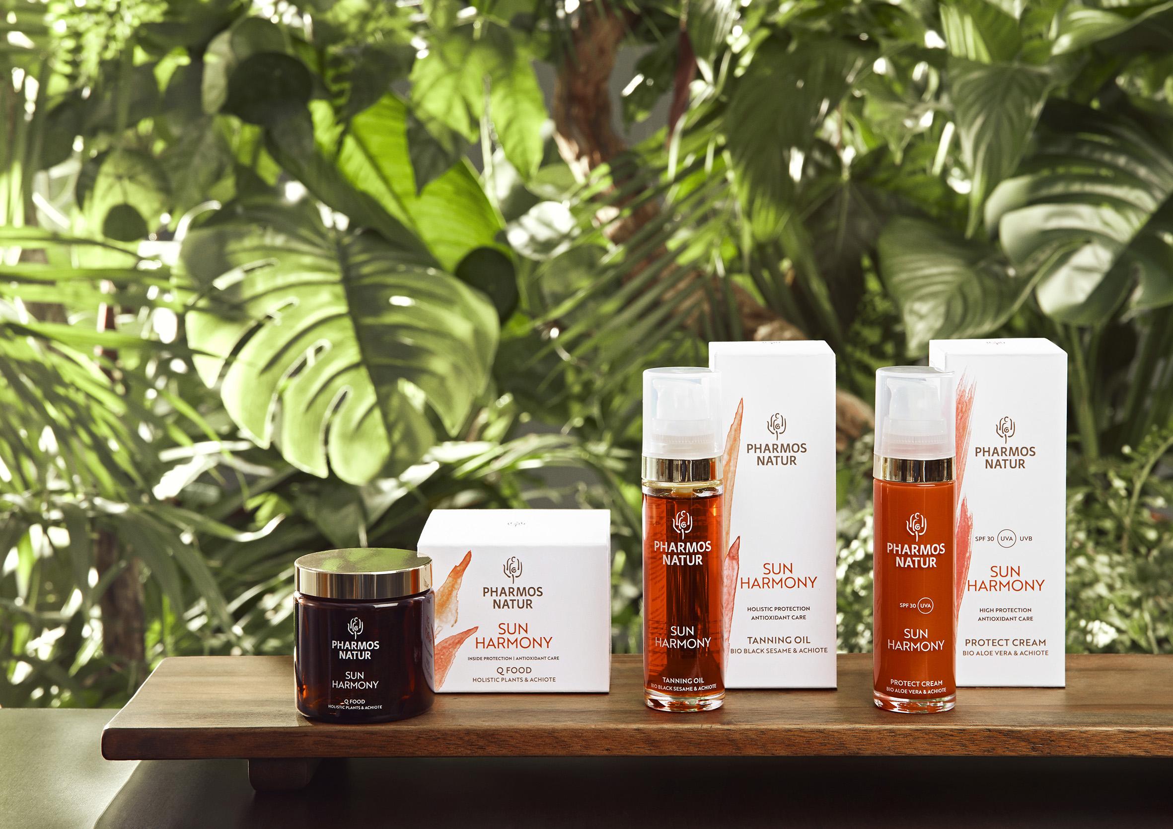 Sun Harmony Produktlinie mit Blättern im Hintergrund