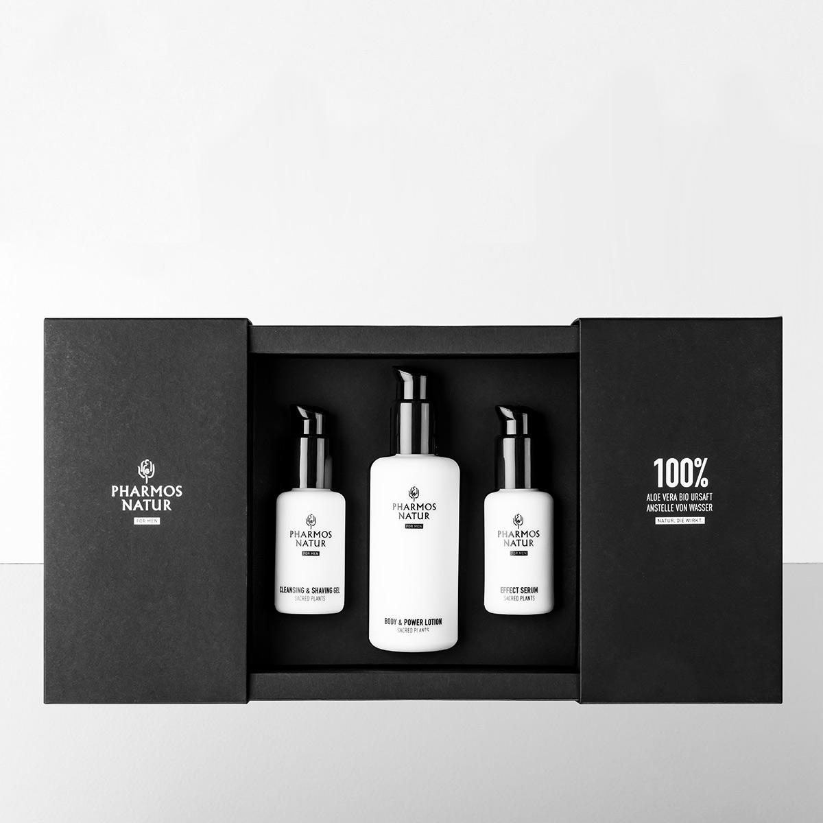 Geschenkset Nature ofMen drei weiße Produkte in schwarzer Verpackung