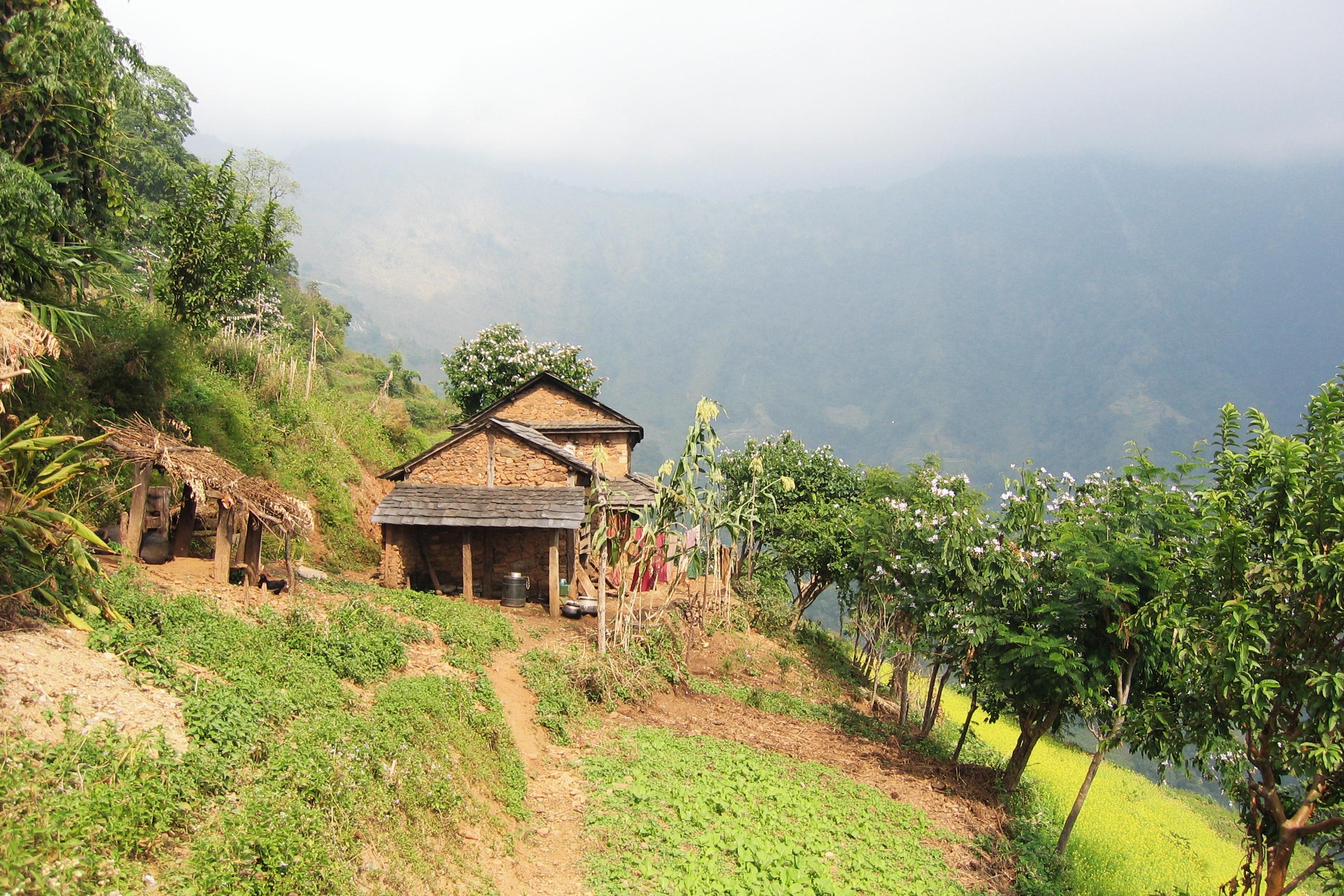 Zwei braune Hütten von Kleinbauern auf einem Berg