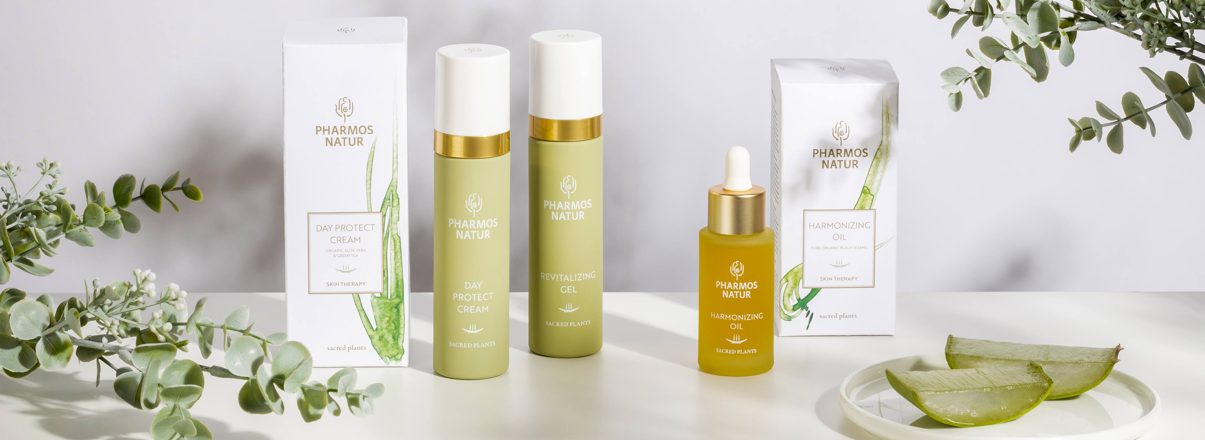 Produktlinie  Skin Therapy Produkte mit Day Protect Cream, Revitalizing Gel und Harmonizing Oil