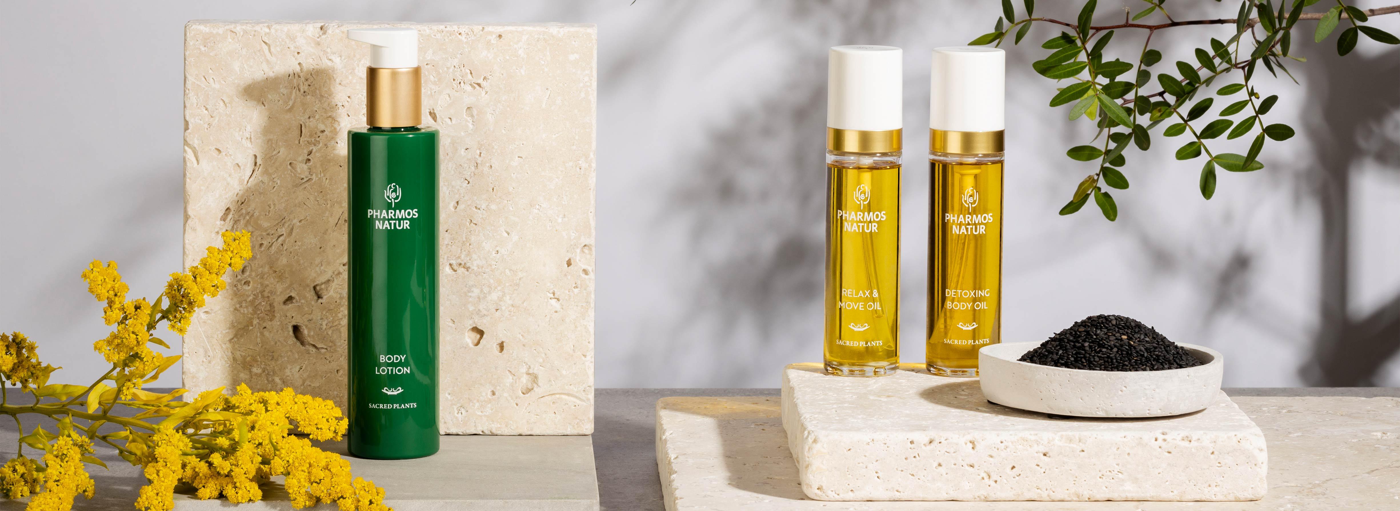 Produktlinie Body Care mit Body Lotion, Relax & Move, Detoxing Body Oil